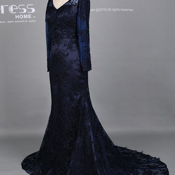 New Design Navy Long Sleeves Lace Prom Dress/Navy Blue Long Prom Dress/Sexy V Neckline Paty Dress/Navy Lace Homecoming Dress DH482