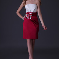 Red And White Strapless Ribbon Tie Pleated Cocktail Dress