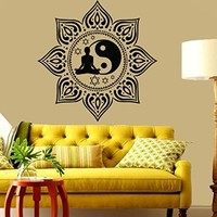 Wall Decals Vinyl Decal Sticker Sport Girl Relax Lotus Sun Flower Yoga Studio Gym Home Interior Yin Yang Sign Indian Mandala Home Wall Art Murals Bedroom Living Room Decor