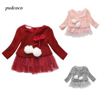 Baby Kids Girls Clothing Dresses Spring Summer Brief Long Sleeve Knitted Bowknot Newborn Tutu Princess Dress