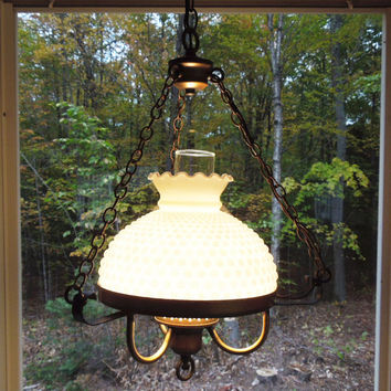 Vintage hobnail milk glass hanging lamp - Hobnail glass hanging hurricane lamp with antique-brass hardware - Cottage chic decor