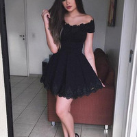 Black Scoop Neck Homecoming Dress, Lace Short Sleeve A Line Short Homecoming Dress