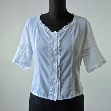 Vintage Blouse White Cotton 80's Dirndl Blouse size Medium/Large