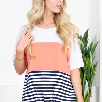 Bottom Striped Block Knot Top