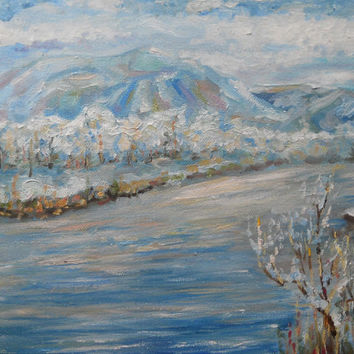 Original Winter Landscape Oil Painting Frozen River Snow Mountain Art Living Room Home Decor Interior Miniature Country Pastel Color Palette