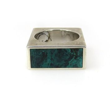 Modernist Sterling Silver Malachite Band Ring, Vintage, 1930s to 1980s