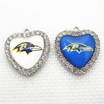 PEAPON 10pcs/lot Crystal Heart Baltimore Ravens Football Sports Dangle Charms DIY Bracelet Necklace Jewelry Hanging Floating Charm