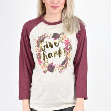 Give Thanks Floral Wreath Raglan Top {Oat/Maroon}