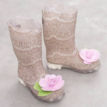 Outlet Joyfolie Felicity Tan Lace Rainboots