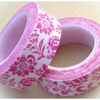 Washi Tape - pink florals on white 11yards WT534