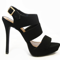Black Pinion Nubuck High Heels