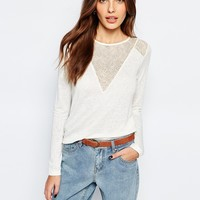 Vila Sheer V Neck Top