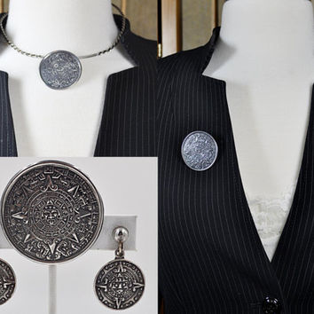 ON SALE Vintage Mexico Sterling Silver Jewelry Set, Mayan Calendar, Signed Bertha, Screw Back Earrings, Brooch/Pendant Combo, Fab! #b605