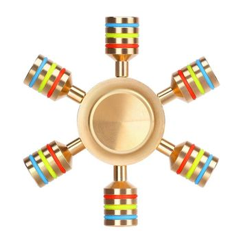 EBOYU(TM) Six Winged Heavy Duty Brass Premium Fidget Spinner, Stainless Steel Bearing, 3+ Minutes Spinning, Rainbow Color Design