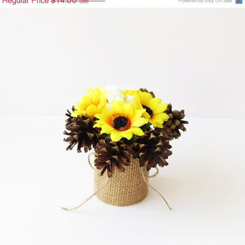 SPRING SALE Custom Wedding Table Decor Sunflowers Decoration Pine Cone Reception White Artificial Flowers Table Centerpiece Flower Arrangeme