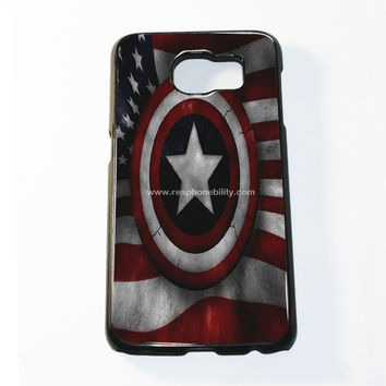 Captain America Shield In Flag Samsung Galaxy S6 and S6 Edge Case