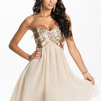Heavily Embellished Bandeau Prom Dress