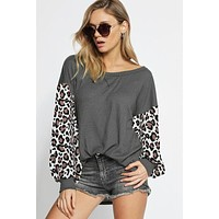 Puff Sleeve Leopard Top - Charcoal
