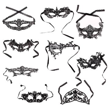 9 Styles Girls Woman Lady Fashion Black Cutout Mask Lace Sexy Prom Party Halloween Masquerade Dance Masks Accessories