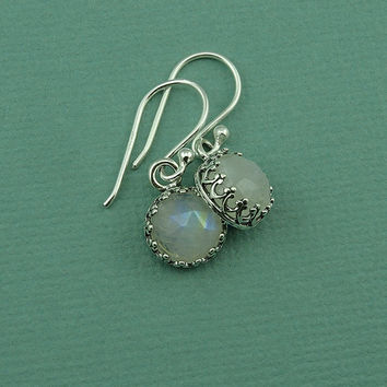 Tiny Moonstone Earrings - sterling silver bezel set earrings, gemstone jewelry