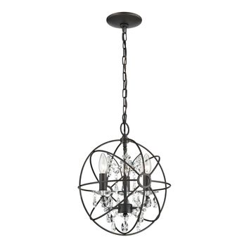 Restoration 3 Light Globe With Crystal Pendant Bronze,Clear