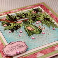 Handmade Baby Girl Card, Welcome New Baby Girl Card, Welcome Little One Card