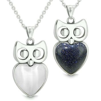 Amulets Owl Cute Hearts Love Couples or Best Friends Set White Cat's Eye Blue Goldstone Necklaces