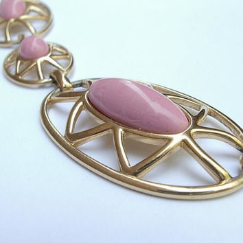 Vintage 1970's Monet jewelry, pink necklace, gold enamel, pink and gold necklace, pink wedding necklace, bridesmaid jewelry