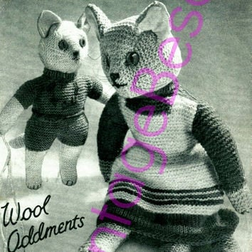 Cat Knitting Pattern Knitted Cat and Kitten Pattern Vintage 40s Amigurumi Cat Pattern Wartime Soft Toy Pattern Instant Download PDF Pattern