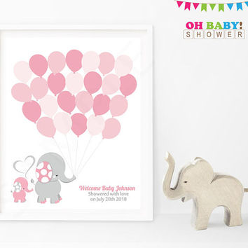 Guest Book Elephant, Elephant Baby Shower Guest Book, Printable, Guest Book Template, Pink and Gray Elephant Baby, Template EL0005-LP
