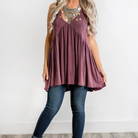 Joanna Strappy Babydoll Top (Wine)