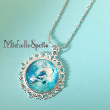 Beautiful Frozen Jack Frost & Elsa inspired Glass Dome Necklace Chain Jelsa Fan Art Anime FanFic Rise of the Guardians