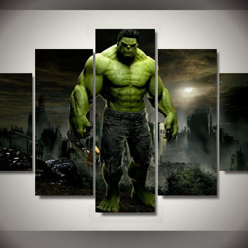 5 Panel Framed Printed Hulk Movie Group Painting children's room decor print poster picture canvas metal wall art
