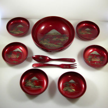 Handpainted Red Lacquerware Salad Set // 9 pc set  // Authentic Chinoiserie from 50s Japan // NEVER Used in Original Box