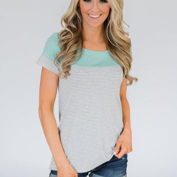 Spring Fever Short Sleeve Striped Top - Mint