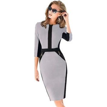 New Fall Women Half Sleeve Zipper Slimming Stretchy Knee-Length Dress Ladies Wear to Work Pencil Dresses