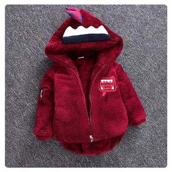 Boys Cartoon Dinosaur Cotton-padded Hooded Winter Baby Jackets