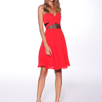 Honey & Beau Paris Cut Out Skater Dress