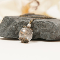Real Dandelion Seed Necklace, Eco Chic Dandelion Pendant, Botanical Jewelry Wish Pendant, a perfect bridesmaid gift