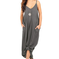 Charcoal Grey Boho Pocketed Maxi Dress LAVELIQ
