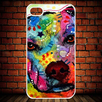IPhone 5 Case,IPhone 4,4S Case-Pitbull Animal Art Paint C-32-Accessories Case Cell Phone