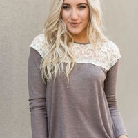 Thermal + Lace Long-Sleeved Top