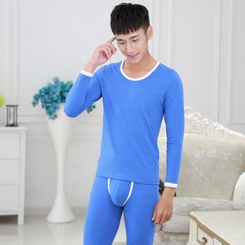 Dot pattern casual Men thermal underwear long johns round collar warm winter men's cotton underwear fashion design high quality