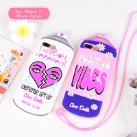 For iphone7 /7 Plus 3D Cartoon case,Spray Water Bottles Soft Silicone Case for iphone 7 /7P /6S  phone cover case with Strap