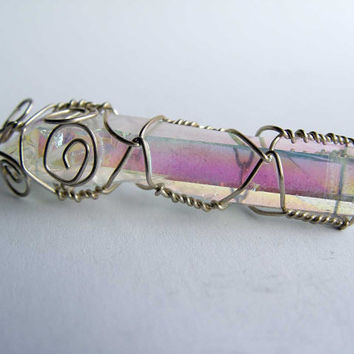 Sterling Silver Wire Wrapped Rainbow Angel Aura Quartz Crystal from Arkansas