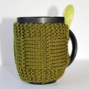 Knitted Mug Cozy - Mug Cozy - Coffee Cup Cozy - Mug Sleeve - Tea Mug Cozy - Mug Jacket - Hot Drink Cozy - Green Cozy - Knitted Drink Sleeve