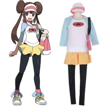 Black 2 and White 2 Anime Japanese Cos  Pocket Monster Rosa clothes Woman Cosplay Halloween Rosa Cosplay CostumesKawaii Pokemon go  AT_89_9