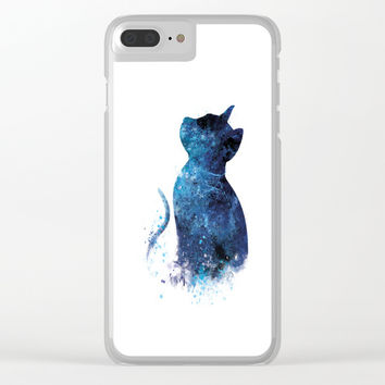 Blue Cat Clear iPhone Case by monnprint