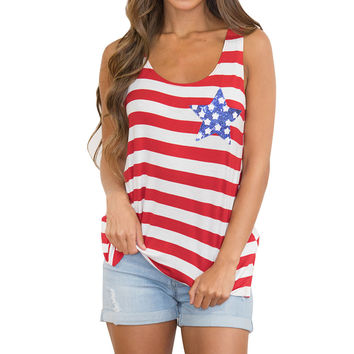 Red & White Striped Tank With Star