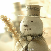 Christmas Winter Holiday Decor - JACK, Sidekick to Frost, Old Fashioned Snowman with Top Hat and Faux Feather Tree Twig